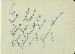 JAMES DUNN - AUTOGRAPH NOTE SIGNED