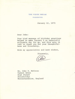 PRESIDENT RICHARD M. NIXON - TYPED LETTER SIGNED 01/12/1973