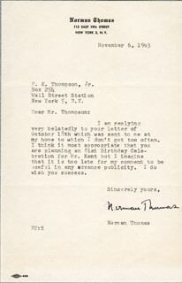 NORMAN THOMAS - TYPED LETTER SIGNED 11/06/1963