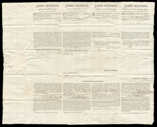 PRESIDENT JAMES MADISON - FOUR LANGUAGE SHIPS PAPERS SIGNED 03/25/1809 CO-SIGNED BY: THOMAS COLES