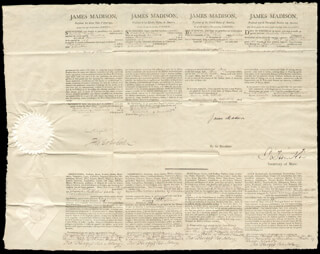 PRESIDENT JAMES MADISON - FOUR LANGUAGE SHIPS PAPERS SIGNED 11/20/1811 CO-SIGNED BY: ROBERT SMITH (POLITICIAN), THOMAS COLES, THOMAS BURGESS