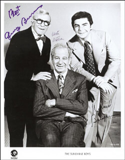 THE SUNSHINE BOYS MOVIE CAST - AUTOGRAPHED SIGNED PHOTOGRAPH CO-SIGNED BY: WALTER MATTHAU, GEORGE BURNS, RICHARD BENJAMIN