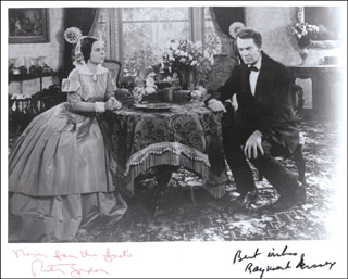 Autographs: ABE LINCOLN IN ILLINOIS MOVIE CAST - PHOTOGRAPH SIGNED CO-SIGNED BY: RAYMOND MASSEY, RUTH GORDON