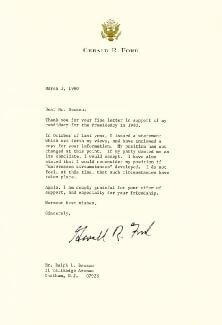 PRESIDENT GERALD R. FORD - TYPED LETTER SIGNED 03/01/1980