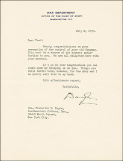 GENERAL DOUGLAS MACARTHUR - TYPED LETTER SIGNED 07/08/1933