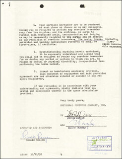 PRESIDENT RONALD REAGAN - DOCUMENT SIGNED 10/22/1952