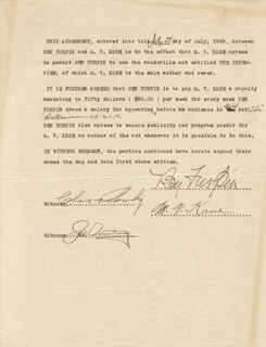 BEN TURPIN - DOCUMENT SIGNED 07/27/1929