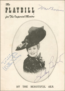 Autographs: BY THE BEAUTIFUL SEA BROADWAY CAST - SHOW BILL SIGNED CIRCA 1954 CO-SIGNED BY: SHIRLEY BOOTH, MAE BARNES, WILBUR EVANS
