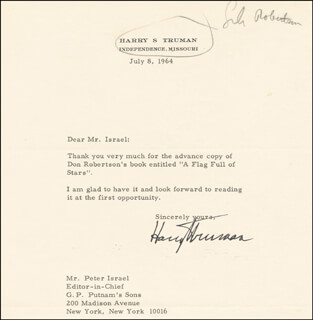 PRESIDENT HARRY S TRUMAN - TYPED LETTER SIGNED 07/08/1964