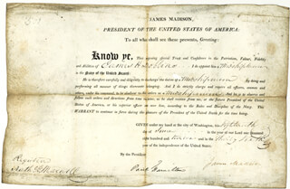 Autographs: PRESIDENT JAMES MADISON - NAVAL APPOINTMENT SIGNED 06/18/1812 CO-SIGNED BY: PAUL HAMILTON