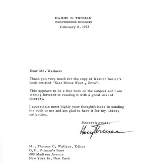 PRESIDENT HARRY S TRUMAN - TYPED LETTER SIGNED 02/08/1962