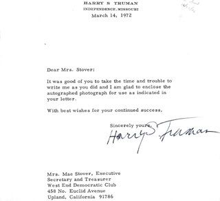 PRESIDENT HARRY S TRUMAN - TYPED LETTER SIGNED 03/14/1972