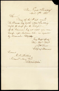 REAR ADMIRAL ANDREW H. FOOTE - MANUSCRIPT LETTER SIGNED 04/09/1863