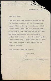 FIRST LADY GRACE COOLIDGE - TYPED LETTER SIGNED 11/16/1937