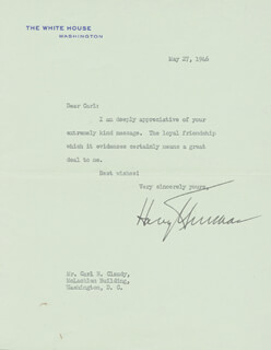 PRESIDENT HARRY S TRUMAN - TYPED LETTER SIGNED 05/27/1946