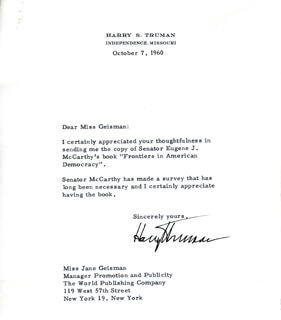 PRESIDENT HARRY S TRUMAN - TYPED LETTER SIGNED 10/07/1960