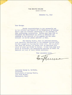 PRESIDENT HARRY S TRUMAN - TYPED LETTER SIGNED 12/21/1949
