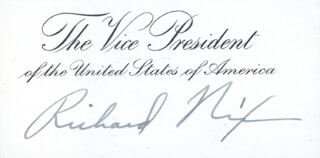 Autographs: PRESIDENT RICHARD M. NIXON - VICE PRESIDENTIAL CARD SIGNED