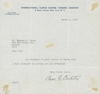 Autographs: CHARLES G. CURTIS - TYPED LETTER SIGNED 03/05/1937
