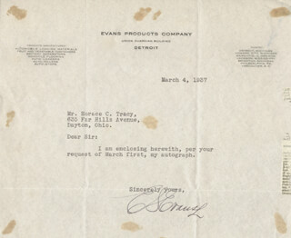 E. S. EVANS - TYPED LETTER SIGNED 03/04/1937