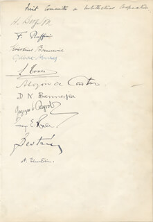 ALBERT EINSTEIN - DOCUMENT SIGNED CIRCA 1922 CO-SIGNED BY: HENRI L. BERGSON, GILBERT MURRAY, GEORGE E. HALE, KRISTINE BONNEVIE