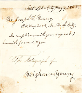 BRIGHAM YOUNG - MANUSCRIPT LETTER SIGNED 05/09/1868