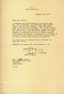 Autographs: PEARL S. BUCK - TYPED LETTER SIGNED 01/23/1947