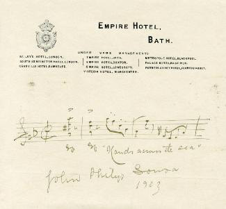 JOHN PHILIP THE MARCH KING SOUSA - AUTOGRAPH MUSICAL QUOTATION SIGNED 1903