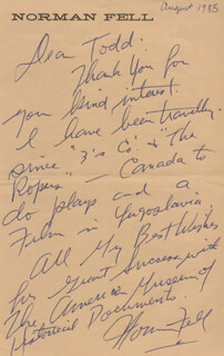 NORMAN FELL - AUTOGRAPH LETTER SIGNED 8/1985
