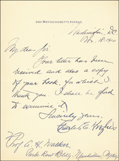 CHIEF JUSTICE CHARLES E HUGHES - AUTOGRAPH LETTER SIGNED 11/18/1910