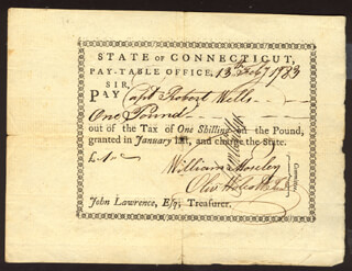 Autographs: OLIVER WOLCOTT JR. - PROMISSORY NOTE SIGNED 02/13/1783 CO-SIGNED BY: WILLIAM MOSELEY, SAMUEL WYLLYS