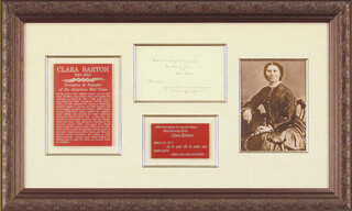 Autographs: CLARA BARTON - AUTOGRAPH QUOTATION SIGNED 03/23/1911