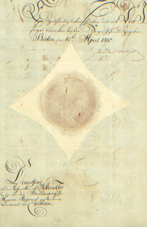 Autographs: KING FREDERICK WILLIAM III - MILITARY APPOINTMENT SIGNED 04/12/1810