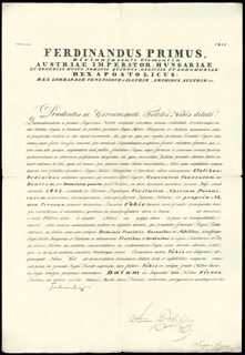 Autographs: EMPEROR FERDINAND I - DOCUMENT SIGNED 03/15/1843