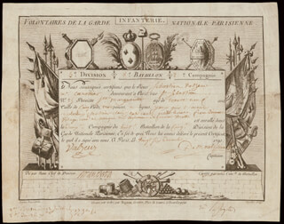 Autographs: MARQUIS GILBERT du MOTIER de LAFAYETTE - DOCUMENT SIGNED 12/26/1790