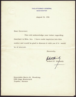 ROBERT F. KENNEDY - TYPED LETTER SIGNED 08/15/1961