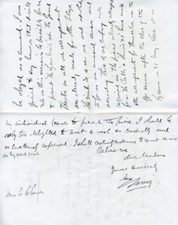 BRAM STOKER - AUTOGRAPH LETTER UNSIGNED 05/05/1890 WITH SIR HENRY IRVING