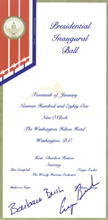 Autographs: PRESIDENT GEORGE H.W. BUSH - INAUGURAL TICKET SIGNED CIRCA 1981 CO-SIGNED BY: FIRST LADY BARBARA BUSH