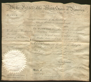 PRESIDENT JAMES MADISON - WHALING SHIPS PAPERS SIGNED 03/22/1810 CO-SIGNED BY: DAVID GELSTON, ROBERT SMITH (POLITICIAN)
