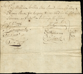 Autographs: CHIEF JUSTICE OLIVER ELLSWORTH - MANUSCRIPT DOCUMENT SIGNED 01/06/1776 CO-SIGNED BY: EZEKIEL WILLIAMS, MAYOR THOMAS SEYMOUR
