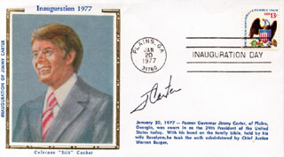 Autographs: PRESIDENT JAMES E. JIMMY CARTER - INAUGURAL COVER SIGNED