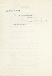 HELEN KELLER - TYPED LETTER SIGNED 04/11/1947