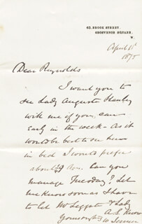 WILLIAM 1ST BARONET JENNER - AUTOGRAPH LETTER SIGNED 04/11/1875