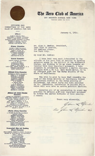 GLENN L. MARTIN - TYPED LETTER TWICE SIGNED 01/04/1916