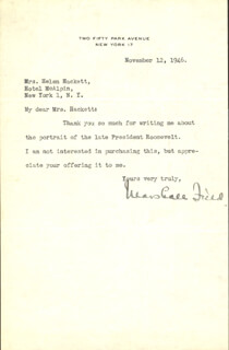 MARSHALL FIELD III - TYPED LETTER SIGNED 11/12/1946
