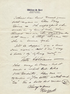 WILLIAM S. HART - AUTOGRAPH LETTER SIGNED 12/08/1938