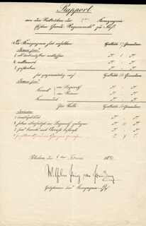 EMPEROR WILLIAM II - DOCUMENT SIGNED 02/08/1881