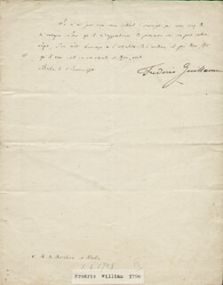 Autographs: KING FREDERICK WILLIAM III - AUTOGRAPH LETTER SIGNED 1798