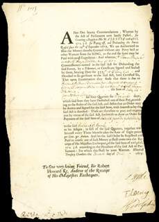 SIDNEY GODOLPHIN - DOCUMENT SIGNED 07/07/1679 CO-SIGNED BY: EDWARD DERING, EARL OF ROCHESTER I (LAWRENCE HYDE)