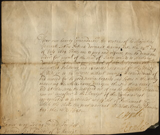 EARL OF ROCHESTER I (LAWRENCE HYDE) - MANUSCRIPT DOCUMENT SIGNED 08/16/1680 CO-SIGNED BY: JOHN ERNLE